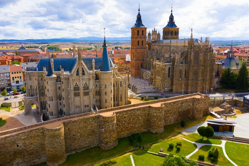 View from drone of Astorga stock photo