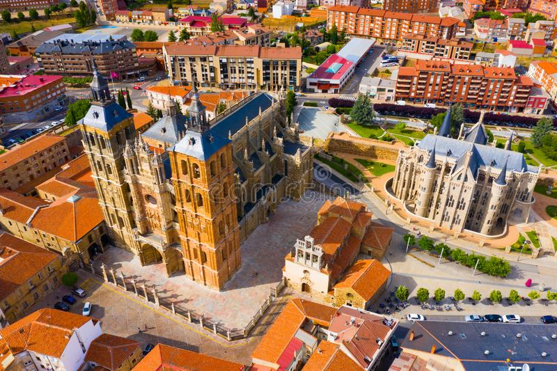 View from drone of Astorga stock photography