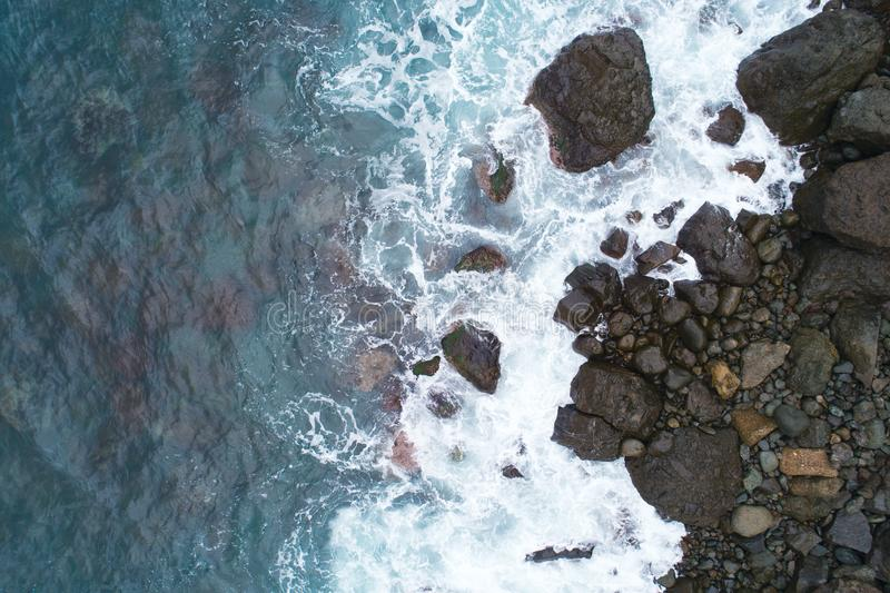 View of a drone at stones Beach,top view aerial drone photo of stunning colored sea beach. stock photo