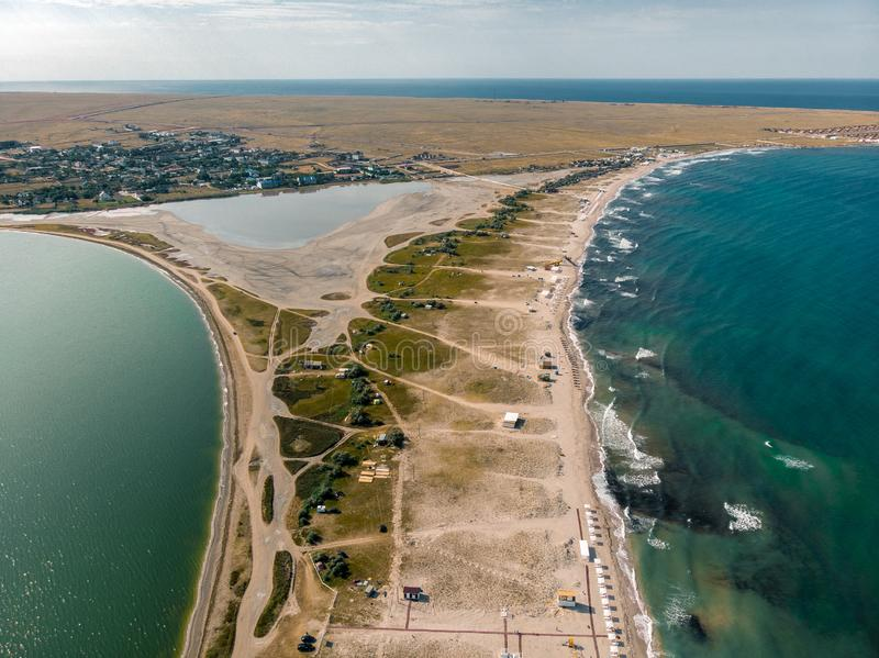 View from the drone to the sea and estuary. Crimea stock photography