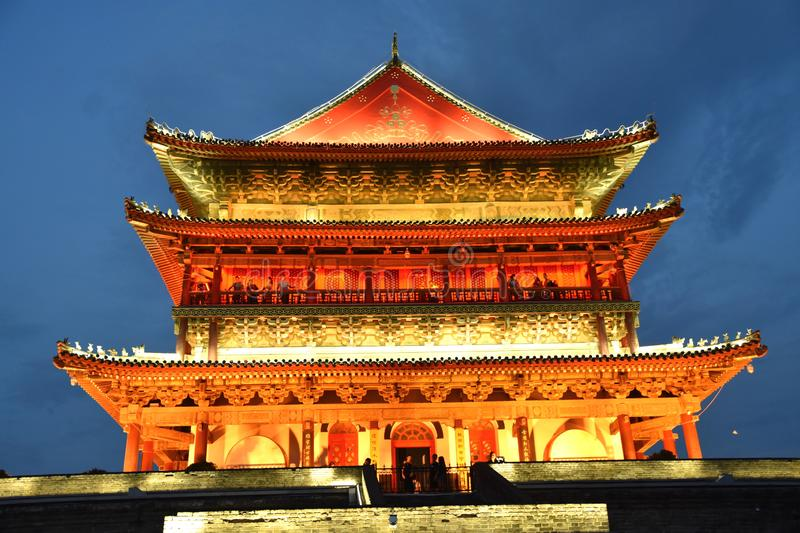 The Drum Tower of Xian, China. View of the Drum Tower of Xian, China, Asia royalty free stock photos