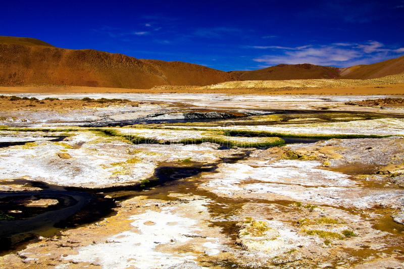 View into dry   geothermal valley surrounded by brown hills with streams of hot blue water and white salt. And yellow sulfur floes - El Tatio geysers, Atacama stock photos
