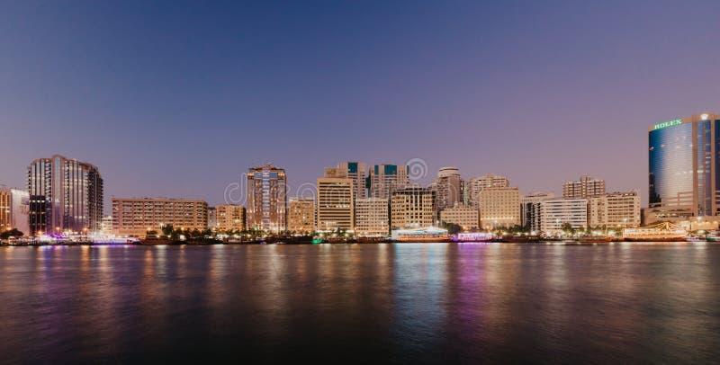 View of Dubai Creek in Old Dubai in Al Seef Area. Dubai - UAE. 02 January 2019 stock images