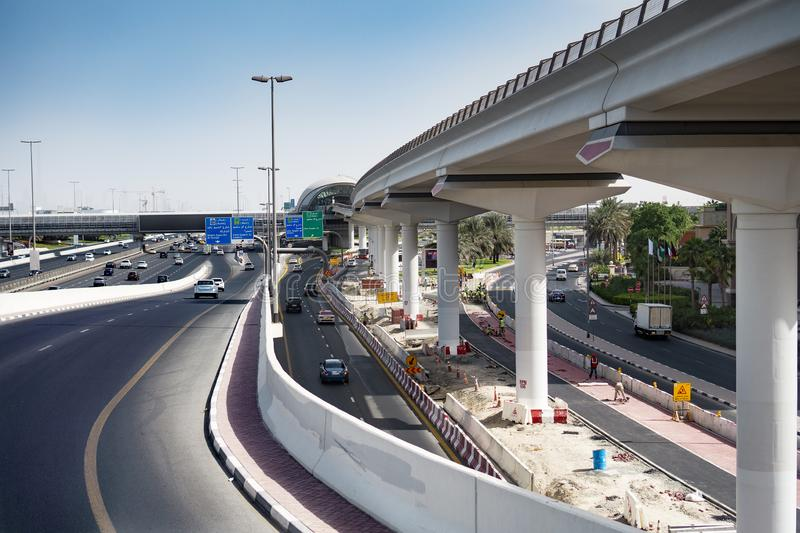 View of dubai infrastructure motorway and constraction. View of dubai infrastructure motorway with cars and constraction stock images