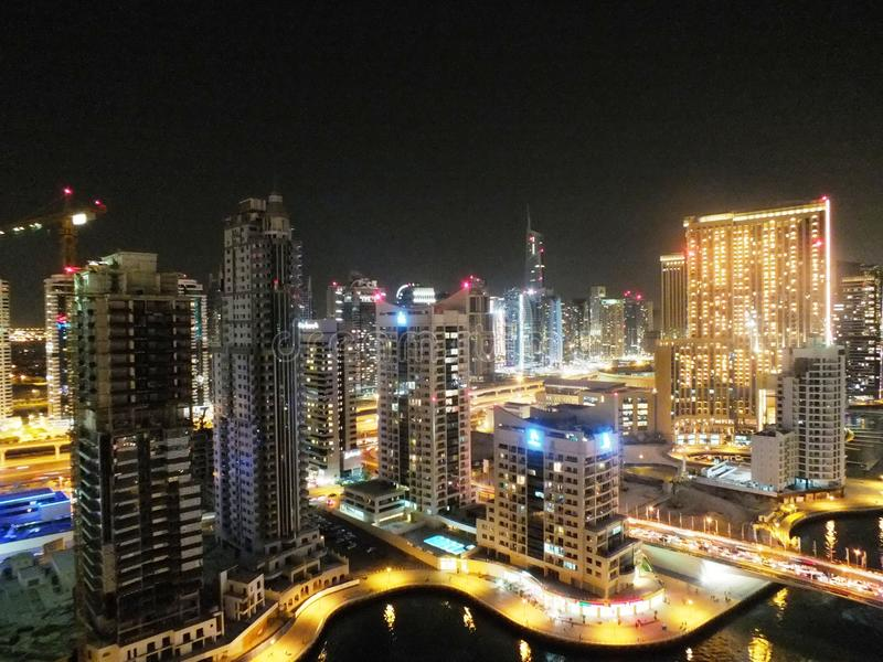 A view of Dubai Marina, at night royalty free stock photo