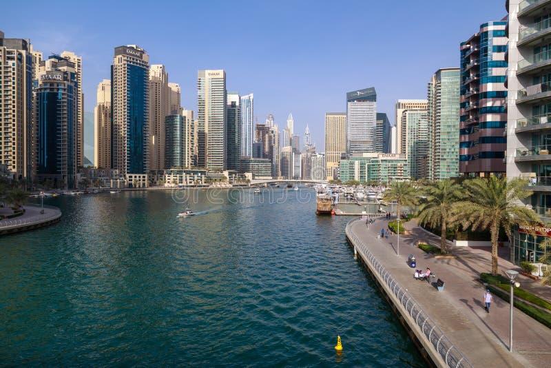 View of Dubai Marina on a warm sunny day stock image
