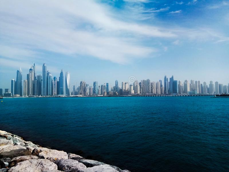 View of Dubai from Palma. stock photo