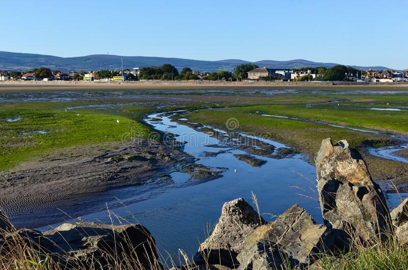 View at Dublin Bay in Sandymount Irishtown Nature Park. Photo royalty free stock photos