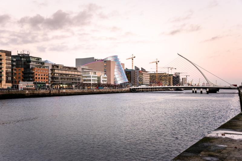 Modern and enovated Buildings alongside the River Liffey in Dublin, Ireland at Twilight royalty free stock photo