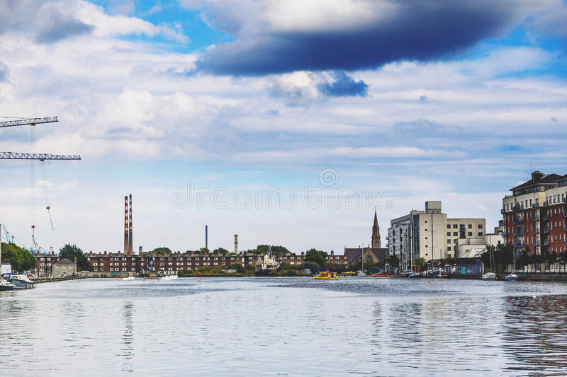 View from Dublin`s Grand Canal Square loking towards Sandymount. DUBLIN, IRELAND - 5th July, 2017: detail of the Docklands aea of Dublin featuring the Bord Gais royalty free stock image