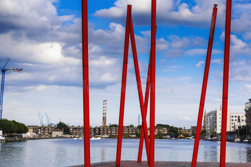 View from Dublin`s Grand Canal Square loking towards Sandymount. DUBLIN, IRELAND - 5th July, 2017: detail of the Docklands aea of Dublin featuring the Bord Gais stock image