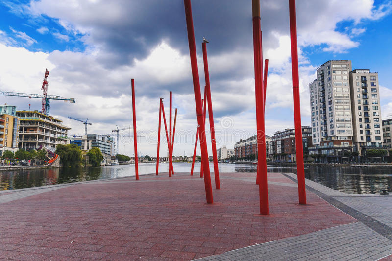 View from Dublin`s Grand Canal Square loking towards Sandymount. DUBLIN, IRELAND - 5th July, 2017: detail of the Docklands aea of Dublin featuring the Bord Gais royalty free stock photos