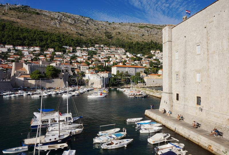 View of Dubrovnik city from the top of ancient walls stock image