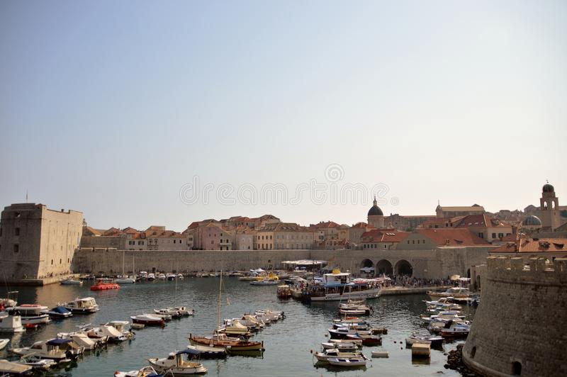 View of Dubrovnik`s harbor. Dubrovnik at croatia. View of the old city fortified stock images