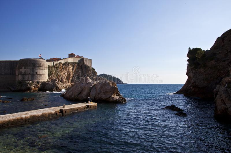 View of the Dubrovnik Walls. View of Dubrovnik`s walls and seanDubrovnik City Walls are a constellation of fortifications surrounding the old part of Dubrovnik royalty free stock images