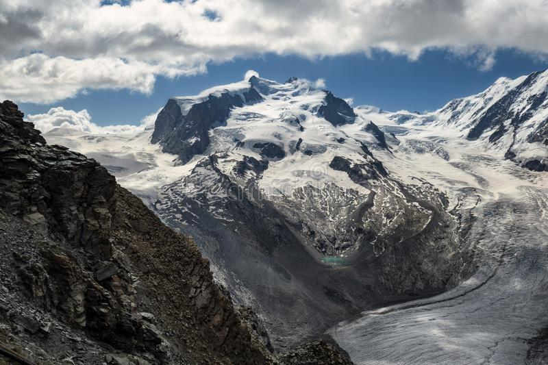 A view on Dufourspitze Monte Rosa from Gornergratt royalty free stock photos