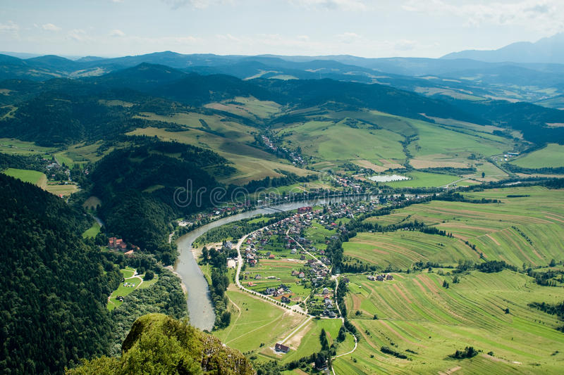 View of Dunajec in Pieniny, Poland. View of the Dunajec, which extends to the entrance to the top of the Three Crowns. View both the Polish and Slovak side royalty free stock photo