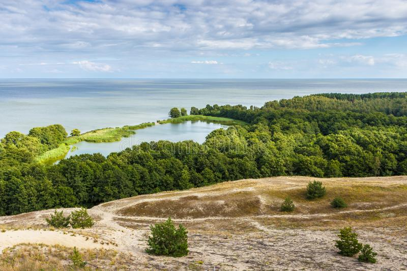 View of dunes and Baltic Sea. Curonian Spit.  royalty free stock photography