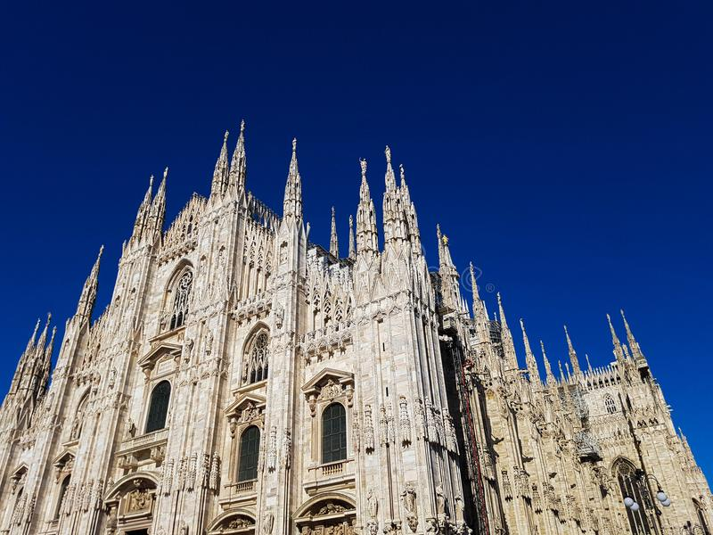 Duomo di Milano gothic cathedral church in Milan, Italy stock photography