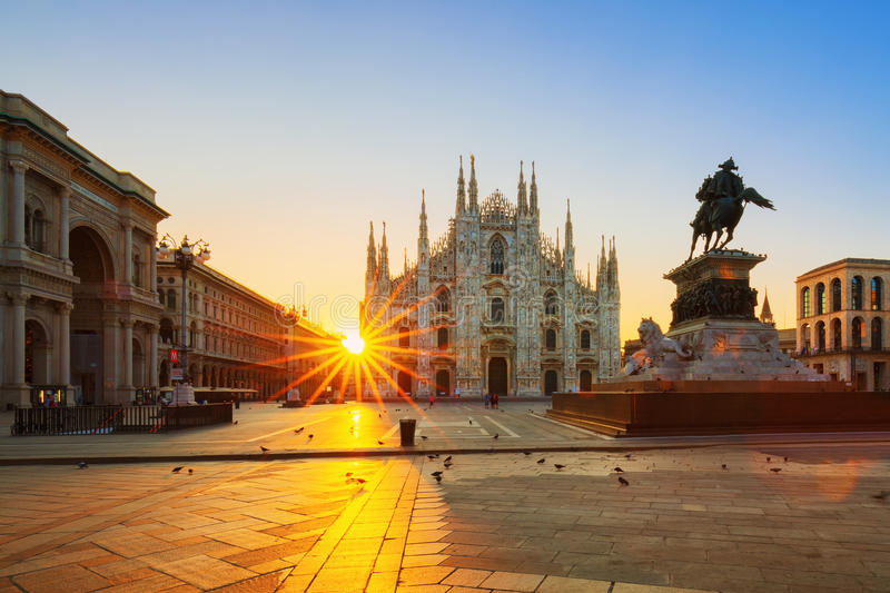 View of Duomo at sunrise. Milan, Italy royalty free stock image
