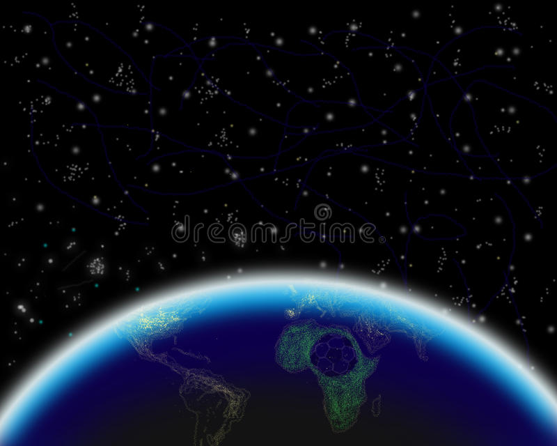 View of Earth at night stock illustration