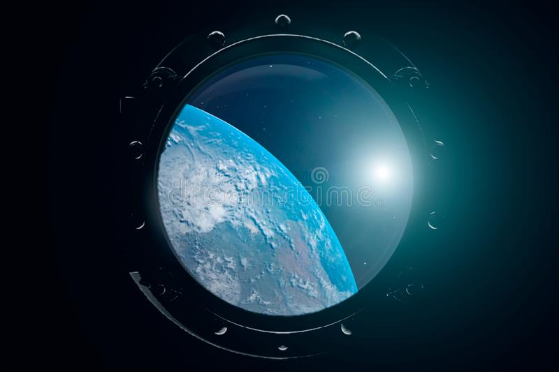 A view of the Earth from through the porthole of a spaceship. International space station is orbiting the Earth. 3D vector illustration