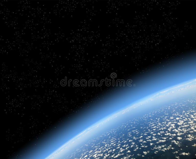 View of earth from space stock illustration