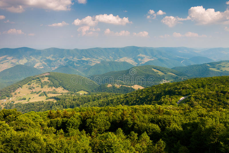 View east of mountains and valleys from Spruce Knob, West Virgin. Ia stock photography