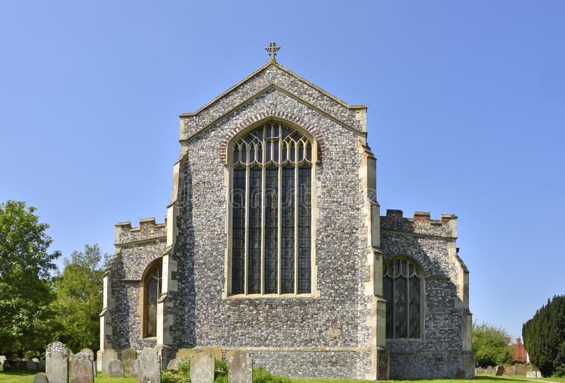 Historic Parish Church of East England. View from the east, showing tracery, of the late 15th century parish church of Holy Trinity in the town of Lodden royalty free stock photography