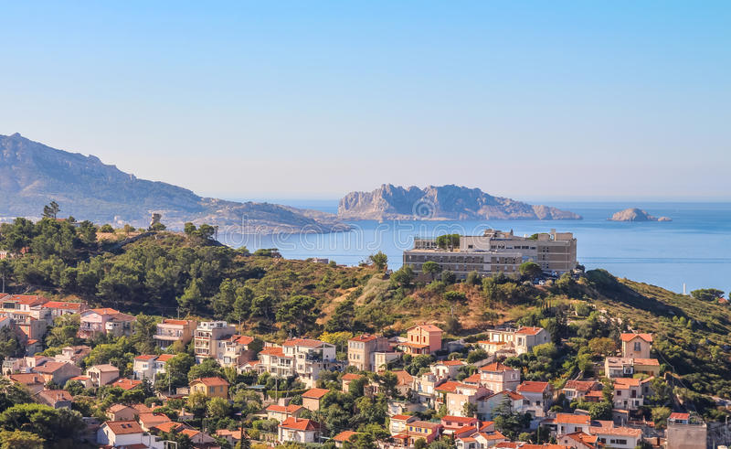 View the eastern part of Marseille from the observation platform. On the mountain on a sunny summer day stock photos