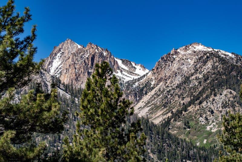 View of Eastern Sierra Nevada Peaks Above Twin Lakes Near Bridgeport, California in late spring stock photo