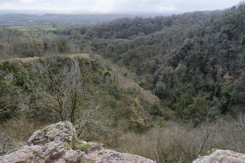 View from Ebbor Gorge. South to Somerset Levels Ebbor Gorge, Mendip Hills, Somerset, UK stock images
