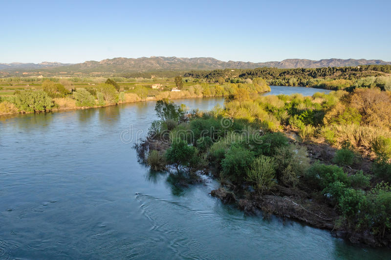View of the Ebro River from the Miravet Castle, Spain stock photography