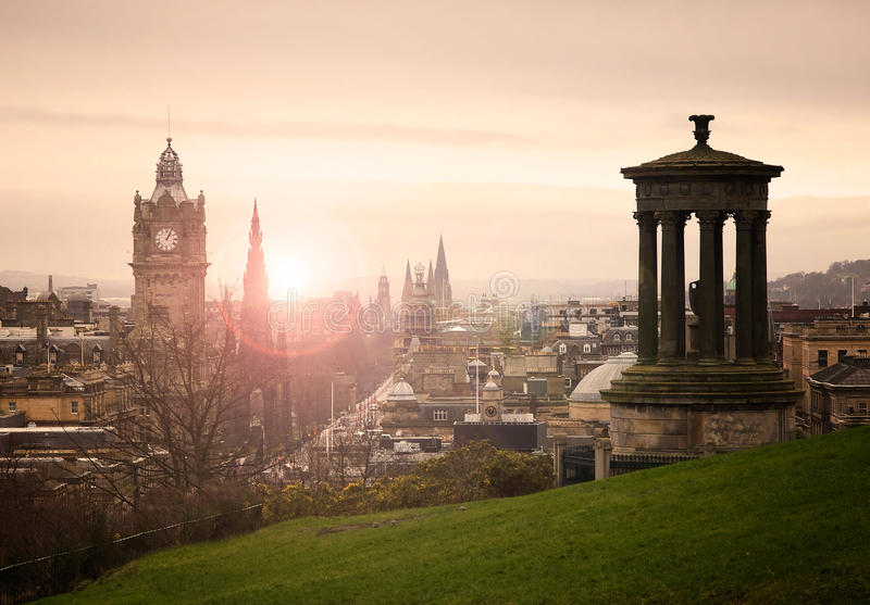 View of Edinburgh city center royalty free stock photography