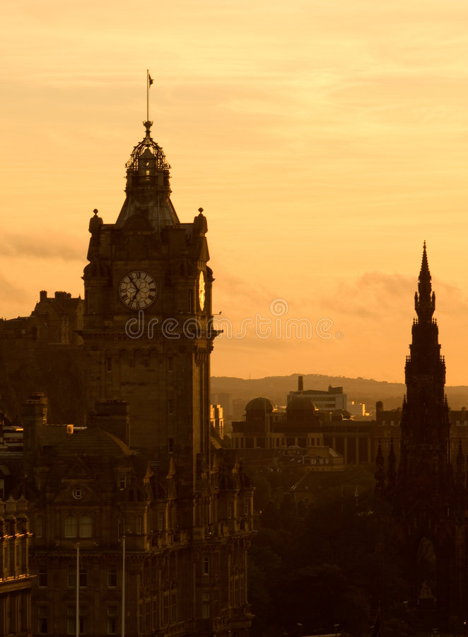 View of Edinburgh at dusk royalty free stock images