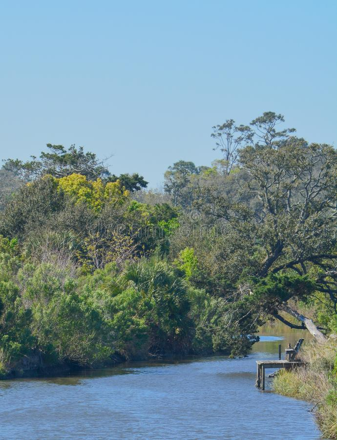 View of Egans Creek at Fernandina Beach in Nassau County, Florida USA. View of Egans Creek at Fernandina Beach in Nassau County, Florida USA royalty free stock photography