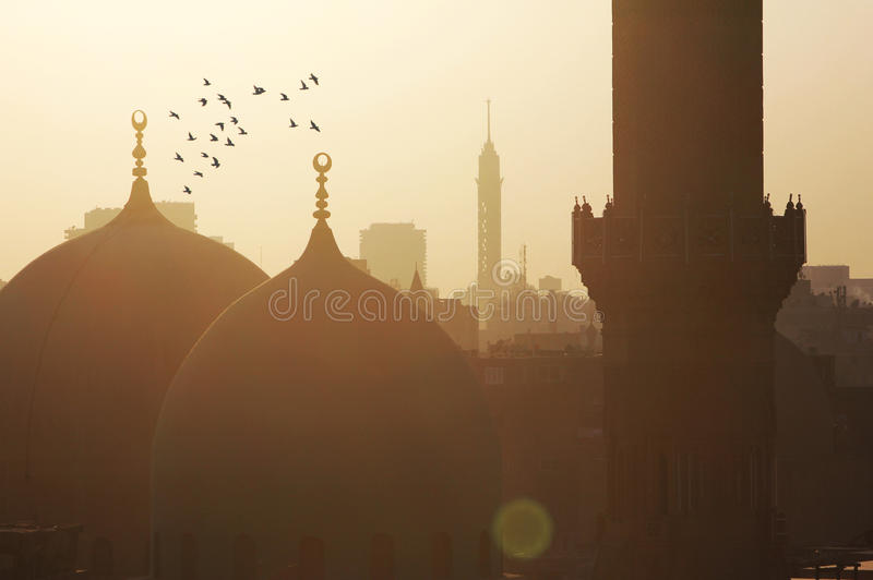 View of egypt cairo during sunset. Cairo tower with old mosque and birds flying in cairo in egypt during sunset