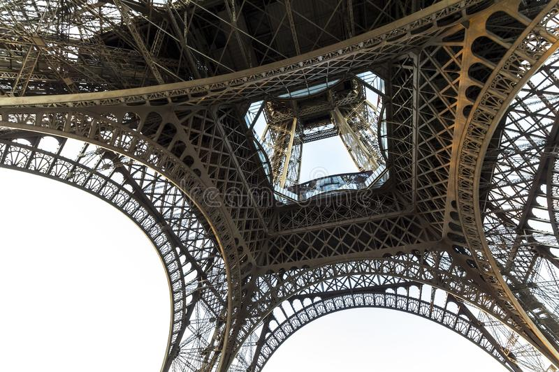 View on Eiffel tower from below in the evening, Paris stock photo