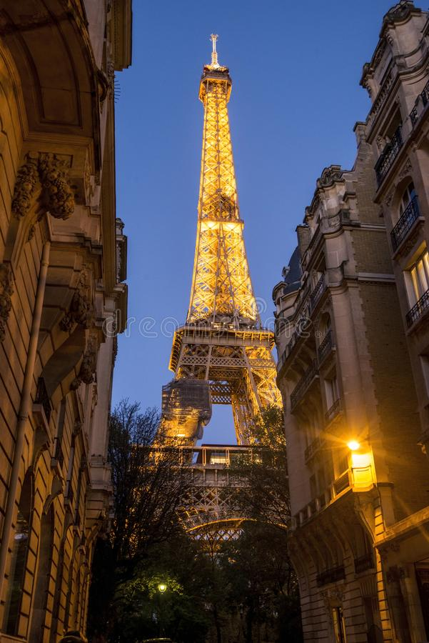 View of the Eiffel Tower at dusk. royalty free stock image