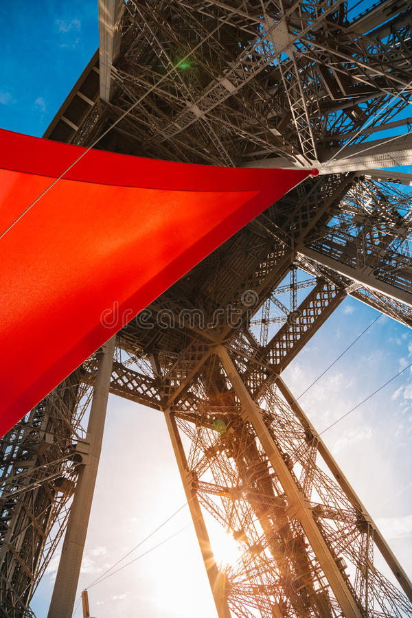 View of the Eiffel Tower from the first floor stock image