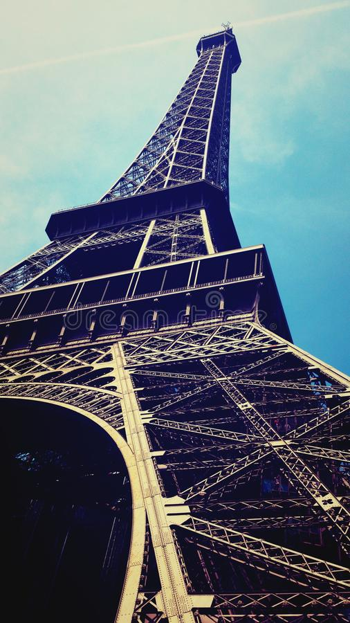 View on Eiffel Tower from the ground. royalty free stock photography