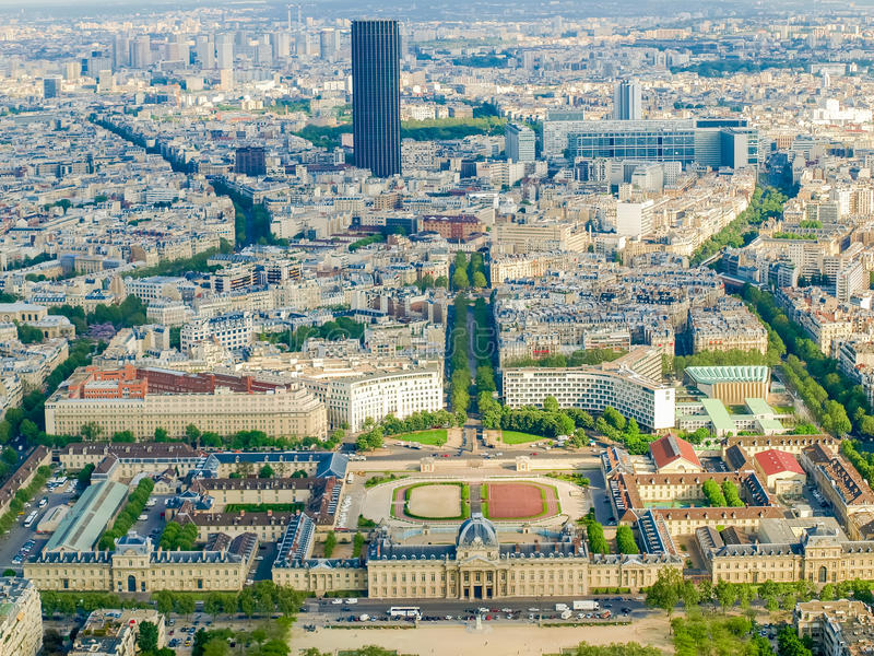 View from the Eiffel Tower of southeastern part of Paris. View from the Eiffel Tower of the southeastern part skyline of Paris in spring day stock photography