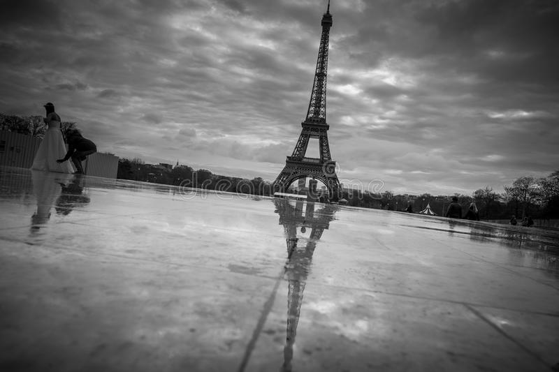 View of the Eiffel Tower from the Trocadero. Reflection tower in royalty free stock photos