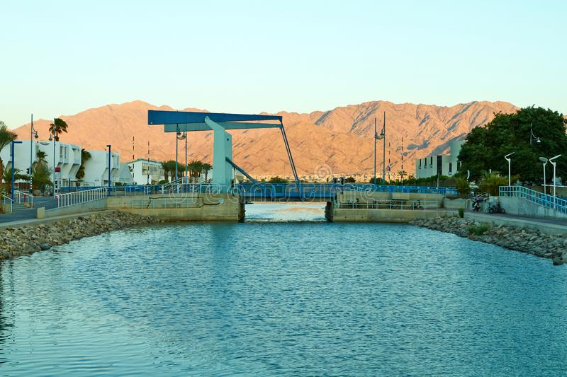 View of Eilat Bay with a drawbridge royalty free stock photo
