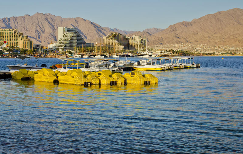 View on Eilat city from the beach, Israel. Eilat is a famous resort and recreation city in Israel stock photo
