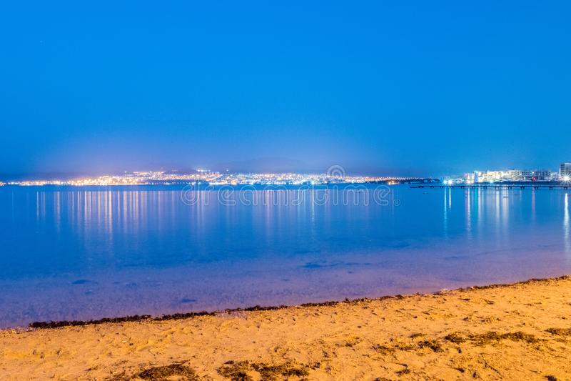 View of Eilat, Israel from Aqaba, Jordan in the early morning stock image
