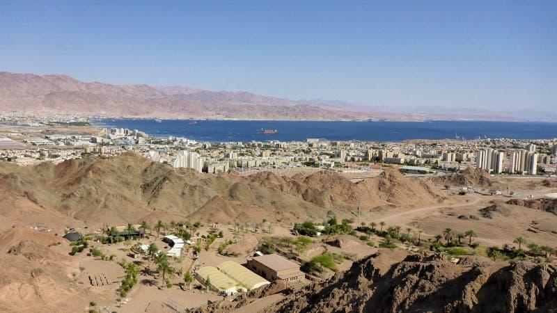View of Eilat and Jordan, Red sea, Israel. View of Eilat and Jordan, Red sea stock images