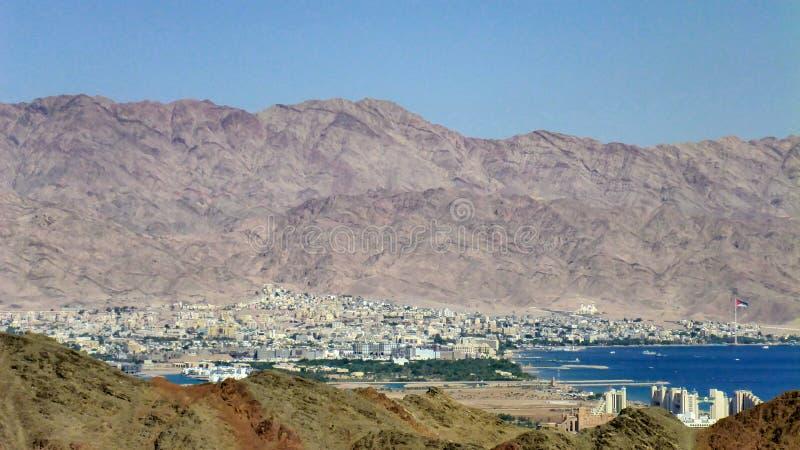 View of Eilat and Jordan, Red sea, Israel. View of Eilat and Jordan, Red sea royalty free stock image