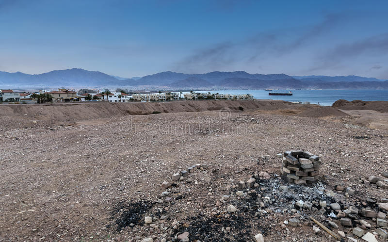 View on Eilat and the Red sea. From a bottom of dry river, Israel stock photos