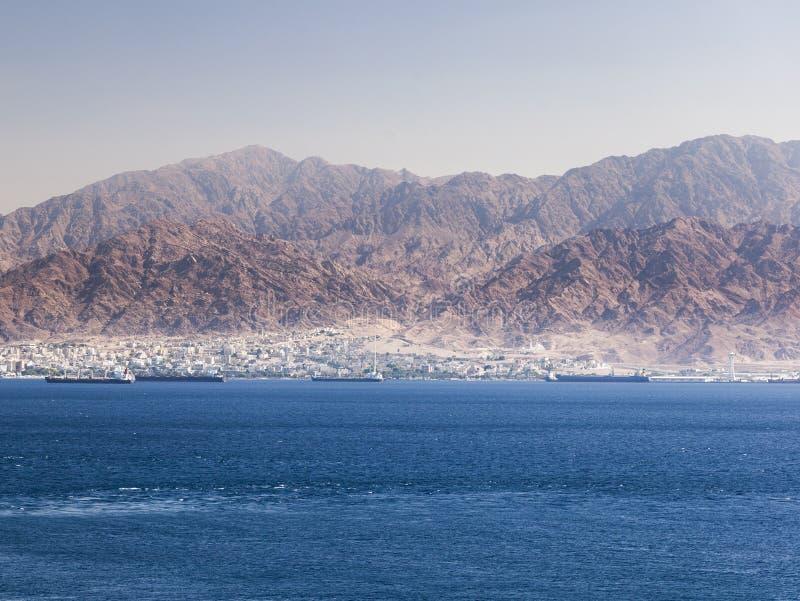 View from Eilat towards Aqaba in Jordan. Israel. View from Eilat south district towards Aqaba in Jordan, Eilat. Israel stock images